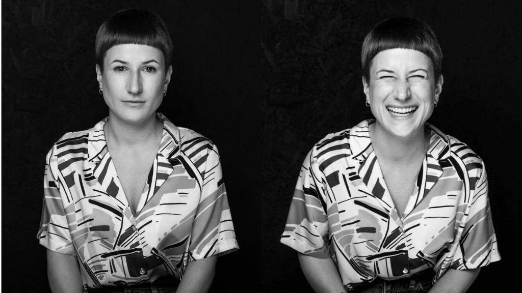 Horváth Anna komoly és egy nevetős portré